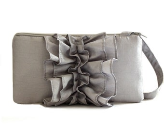 Silver Ruffle Wristlet for Bridesmaid or Prom Night- Bridal Wristlet
