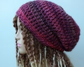 Slouchy Beanie Baggy Hat Petunia pink purple thick soft Hipster Boho Bohemian