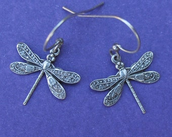 Antiqued Silver Dragonfly Earrings