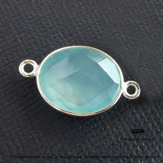 2 pcs 16mm x 13mm Seafoam Blue Green Chalcedony Sterling Silver Pendant Connector F393S