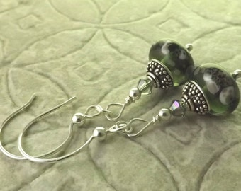 Lady Edith stormy black and grey lampwork and Swarovski crystal sterling silver earrings