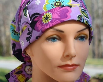 Scrub Hats // Scrub Caps // Scrub Hats for Women // The Hat Cottage // Small // Fabric Ties // Floral Bliss