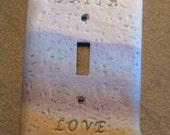 Faith Love Tan Blue White Light Switch Cover/Plate