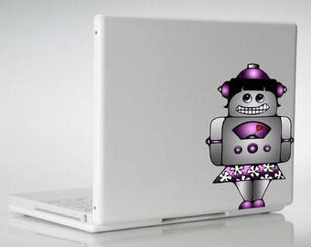 Robot Gadget Girl Vinyl Decal Art Sticker, For Any Smooth Surface - Windows Car Walls Metal School Lockers Glass Plastic Laptop Computer Art