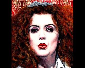 "Print 11x14"" - Magenta - Patricia Quinn Rocky Horror Picture Show Dr Frank N Furter Musical Drama Gothic Cult Tim Curry Pop Art Dark Horror"