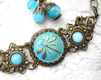 Aqua Blue Dragonfly Glass Button Bracelet - Antiqued Brass Layered Filigree Adjustable