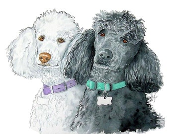Black and White Poodles Large Reproduction with name