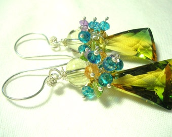Green Yellow Amethyst Faceted Fancy Cut Briolette Earrings
