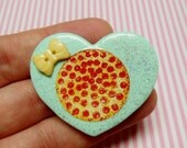 Pepperoni Pizza - Polymer Clay Glitter Brooch or Necklace