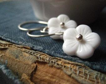 flower earrings, white glass, vintage flowers, Czech glass, sterling silver, fine silver, handcrafted earwires, womens jewelry, candies64