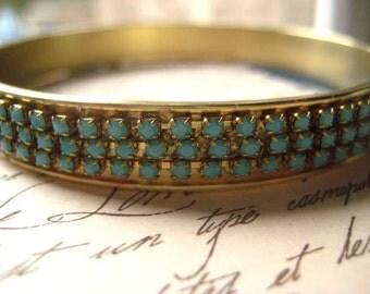 Bangle Bracelet, Vintage Bangle, Brass Bangle, Rhinestone Chain, Turquoise Chain, Czech Crystals, Genuine Crystal, candies64, Womens Jewelry