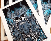 Viking Skeleton Warrior Celtic Limited Edition Silk Screen Poster Art Print - Etsy