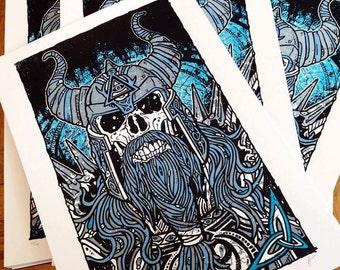 Viking Skeleton Warrior Celtic Limited Edition Silk Screen Poster Art Print - Etsy