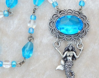 Aqua Mermaid- Antiqued Silver and Glass Beaded Necklace