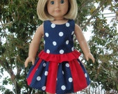 American Girl Doll Clothes Stripwork Twirl Skirt Top Nautical Patriotic Red White Blue SewSoNancy Boutique