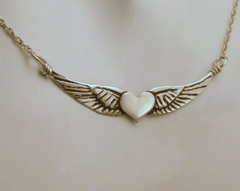 Sterling Wing Necklace - SILVER WINGED HEART - 925  Sterling Heart Pendant