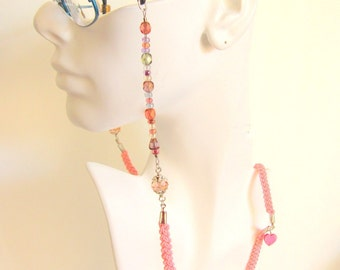 Hand Braided and Beaded Women Eye Glass Lanyard / Holder / Chain / Leash - Pink Heart Eye Glass Holder