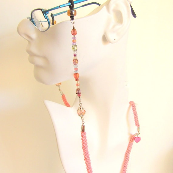 Hand Braided and Beaded Women Eye Glass Lanyard / Holder / Chain / Leash - Pink Heart Eye Glass Holder