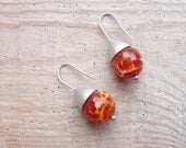 Crab Agate Earrings Sterling Silver Sea Travels Rustic Jewelry