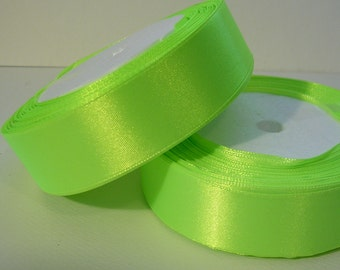 "Satin Ribbon 1"" Neon Green - 25 Yard Spool (R33A) Closeout SALE"