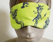 Day Of The Dead Sleepmask Black On Acid Green With Victorian Stage Curtain Back Handmade Padded Luxury Sleepmask For Men Or Women