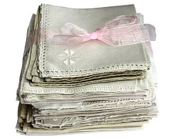Vintage Linen Napkins - Linen Tea Napkins, S/35 - Entertaining Lot - White