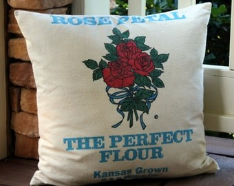 Flour Sack Pillow - Rose Petal Flour - Red Rose - Turquoise and Red on Ivory - Rose Bouquet - Kansas Grown