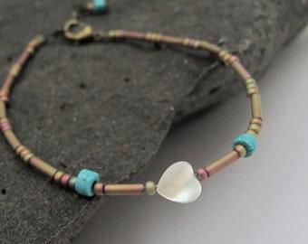 Beaded Friendship Bracelet, Turquoise Bracelet, Beaded Bracelet, Seed Bead Bracelet, Gemstone, Yoga Zen Jewelry, White Heart