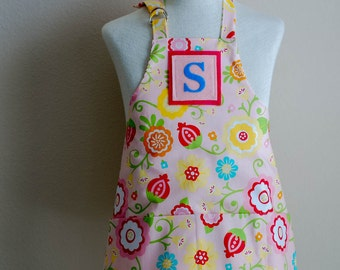 Kids Apron / Toddler Ages 2-6 Personalized Letter  - Pink Simply Sweet Reversible Apron with Pockets