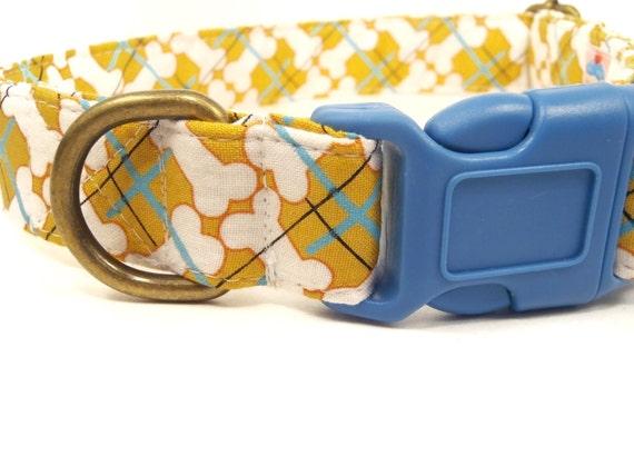 LAST ONES - Barkberry - Organic Cotton LARGE Dog Collar Gold Yellow Bones Plaid- All Antique Brass Hardware
