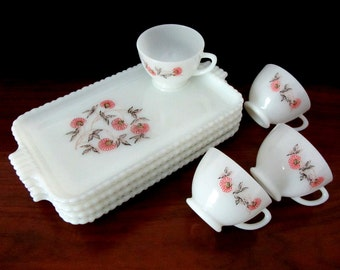 Mid Century White Milk Glass Lunch Plates with Matching Cups, Eight Pieces