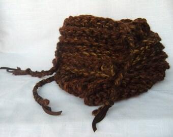 Chunky Yarn Men's Scarf Brown Deerskin Leather Fringe