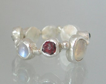 Eternity Ring with Moonstone and Ant Hill Garnet, Moonstone Ring, Garnet Ring, Rough Stone Eternity Ring