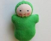 grass green, Waldorf pocket doll, germandolls, waldorf toy,  Easter basket treat, natural toy