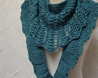 Knitting Pattern Triangle Head Scarf : Pattern, Lace Triangle Scarf Hand Knit Triangle Lace Ribbing Long Scarf Patte...