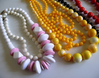 Huge Lot Vintage Colorful Beaded Necklaces