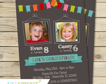 Bunting Joint Twin Photo Birthday Invitation- Boy or Girl - Double Birthday Invitation - Chalkboard Style - Digital File - Print Your Own