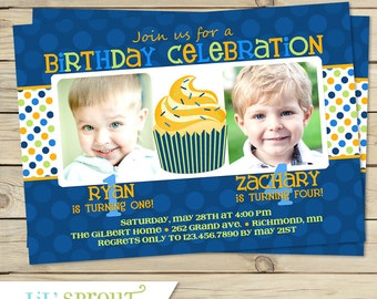 Joint Boy Birthday Invitations - Brother Twin Birthday Party Invitation - Twin Boy Birthday Invites - Printable Twins Birthday Invitations