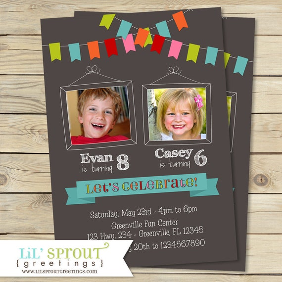 Bunting Joint Twin Photo Birthday Invitation- Boy or Girl