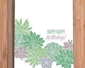 birthday card / succulents
