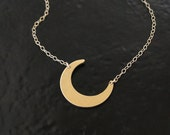 RESERVED For Kim 14K Gold Crescent Moon Necklace - Celebrity Jewelry, Celestial Jewelry, Half Moon