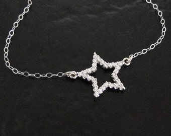 Star Necklace - 14K Gold and Genuine Diamond Star Outline - As Seen on Kourtney Kardashian And Other Celebrities