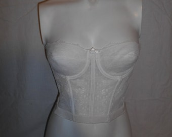 Vintage 80's 90's  white  lace   Strapless Bustier Bra   32 B