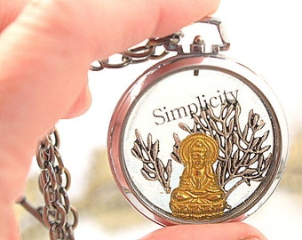 Simplicity Buddha Pocket Watch Necklace Lotus Cast Resin  Pendant