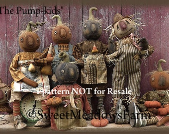 The Pump-kids Primitive  EPATTERN Pumpkin Scarecrow Dolls