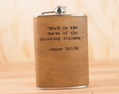 8oz Flask - Oscar Wilde in Antique Brown - leather and stainless steel