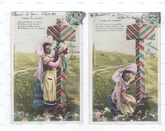 Antique,Postcards.TWO.retro.Paris.french.rare.scrap book.flower.original.home decor.mom.note.author.writer.cartes fantasie.vintage.crafting.