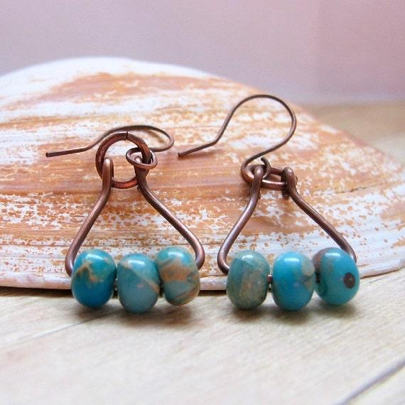 Oxidized Copper Earrings With Dyed Serpentine Jasper Beads, Rustic Dangle Earrings, Copper Beaded Earrings
