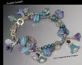 Purple Sunset- multi strand (2) lampwork charm bracelet w/ mixed gemstones, freshwater pearls & Swarovski Crystal in sterling silver SRAJD
