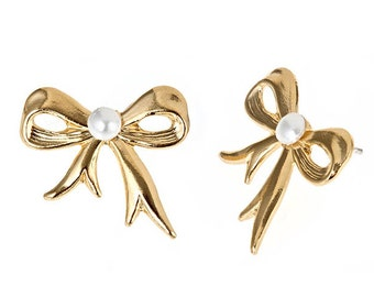 14k yellow gold plate bow stud earrings with faux pearl center. Ladylike, bridal and available in 10 different possible colors like lavendar